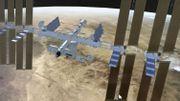 Un robot en assure le déplacement vers l'extérieur du module européen Colombus de la station.