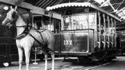 Un tramway hippomobile photographié en 1963