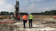Des travaux sont encore en cours pour renforcer les fondations de deux des huit éoliennes du parc.