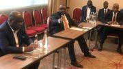 Félix Tshisekedi, Jean-Pierre Bemba et Adolphe Muzito pendant la conférence de presse