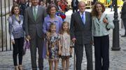 La princesse Letizia, le prince Felipe, leurs enfants, le roi et la reine, ainsi que la princesse Elena photographiés en 2014