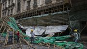 Les dégâts à Macau : un échaffaudage écroulé