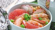 Recette: Salade de quinoa aux crevettes et aux petits légumes frais