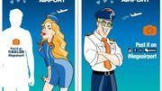 Une hôtesse à la position suggestive et un pilote musclé pour promouvoir Liège Airport