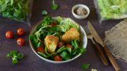 Recette : salade de feuilles de chêne et mâche aux légumes et camembert pané