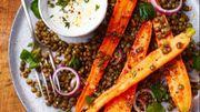 Recette : Salade de carottes rôties aux lentilles et au chèvre