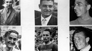 6 coureurs de l'équipe belge de 1957: Marcel Janssens, Jan Adriaensens, Joseph Cerami, Desire Keteleer, Joseph Planckaert et Alfred De Bruyne.