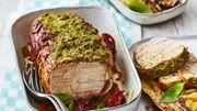 Recette : Rôti de veau au pesto roquette-basilic, légumes d'été braisés