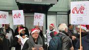 """Les manifestants se réunissent au siège de la FEB pour dénoncer la """"la dégradation croissante"""" des conditions de travail"""