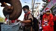 Thaïlande : des éléphants en Pères Noël distribuent des masques dans une école