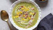 Recette : Soupe de maïs et bacon grillé