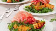 Recette : salade de nectarines grillées, roquette et jambon de Parme