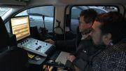 Nos collègues Fabrice Gérard et Jean-Marc Vierset en plein montage pour les journaux radio de 09H de ce 10 janvier