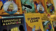 """La couverture originale de """"L'Etoile mystérieuse"""" de Tintin en vente à Bruxelles"""