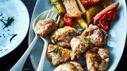 Recette : Ris d'agneau poêlés, rhubarbe et tomates confites