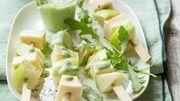 Recette: Brochettes Reblochon-pommes vertes, sauce roquette