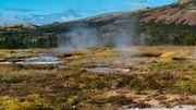Dans la région de Flúdir, comme partout en Islande, le sol est bouillonnant, fumant et la chaleur naturelle est visible à l'œil nu.