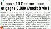 Dans la Revue de Presse : Il trouve 10 euros en rue, joue et gagne 3000 euros par mois à vie