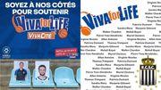 Les supporters du Belfius Mons-Hainaut et du Sporting de Charleroi affichent leur soutien à Viva for Life