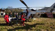 L'hélicoptère en intervention, ici à Aywaille