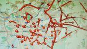 Plan avec embarras de circulation dans et autour de Bruxelles