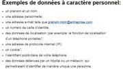 Une liste d'exemple de données personnelles sur le site de la Commission européenne.
