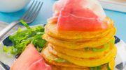 Recette : Mini pancakes de thym au jambon de Parme