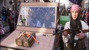 Un char caricaturait les terroristes du groupe terroriste Etat islamique en 2015 à Alost.