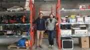 Benoit Carion et Xavier Marichal dans le dépôt principal d'Usitoo à Anderlecht (Delacroix)