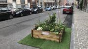 """Le petit jardin a été """"immatriculé"""" pour pouvoir rester stationné devant l'entrée de garage"""