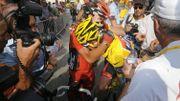 Evans en pleurs après une défaillance sur le Tour 2010.