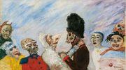 """""""Squelette arrêtant masques"""", peinture """"inconnue"""" d'Ensor, adjugée 7,4 M d'euros à Paris"""