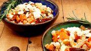 Recette de Candice: Salade de pois chiches et carottes à la feta, dattes et amandes
