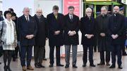 Le CEO de Brussels Airport Arnaud Feist était entouré de représentants du gouvernement fédéral.