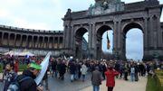 La manifestation a débuté à 13h mais vers 16h20, l'afflux était toujours observable au Cinquantenaire