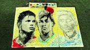 Mondial : une fresque à l'effigie des joueurs stars peinte avec un ballon