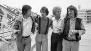 """John Hurt, Brad Davis, l'écrivain Billy Hayes et Alan Parker, à la présentation du film """"Midnight Express"""", au Festival de Cannes, en mai 1978"""
