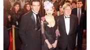 """Madonna, Antonio Banderas et Alan Parker en décembre 1996, à la présentation du film """"Evita"""" à Madrid"""