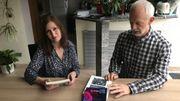 L'éditrice Nathalie Marcon et un de ses auteurs, Jean-Pol Samain