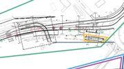 Sur ce plan, on distingue la sortie secondaire du parking RER (coude à gauche) qui sera creusée sous le Boulevard de Wallonie et qui permettra aux automobilistes de retourner vers le centre de LLN.