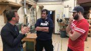 Nicolas et Cédric en compagnie de leur ancien professeur Laurent Gillis