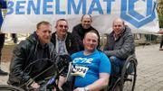 Les collègues d'Olivier venus le soutenir lors d'une course de handbike.