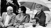 Dans les tribunes de Roland Garros en 1984, en compagnie de Charles Gérard et Claude Lelouch