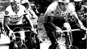 Thévenet et Merckx côte à côte lors de l'étape de Pra Loup.