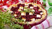 Tarte salée à la betterave et aux oignons rouges