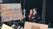 Anuna De Wever, l'initiatrice du mouvement en Flandre était également présente à Louvain.