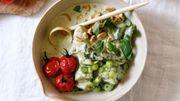 Recette : curry vert au concombre sauté et aux tomates cocktails rôties