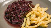 Onglet à l'échalote au vin et roast beef et bouquetière de légumes