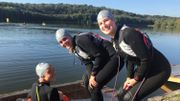 Benoît, Sarah et Anne-Sophie ont le sourire à quelques instants du départ de leur triathlon