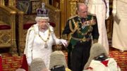 Queen Elizabeth II and Prince Philipp during the State Opening Address in 2016